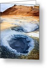 Hot Springs At Namaskard In Iceland Greeting Card