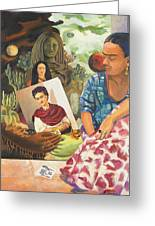 Hot Ticket Frida Kahlo Meta Portrait Greeting Card