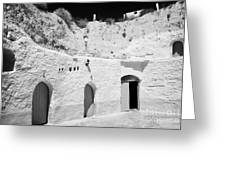 hotel room cave accomodation Sidi Driss Hotel underground at Matmata Tunisia scene of Star Wars films Greeting Card