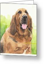 Hound Dog Watercolor Portrait Greeting Card
