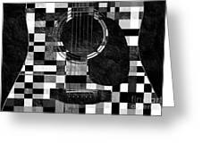 Hour Glass Guitar Random Bw Squares Greeting Card