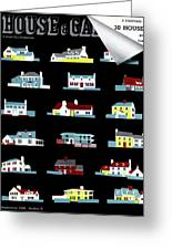 House & Garden Cover Illustration Of 18 Houses Greeting Card