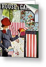 House & Garden Cover Illustration Of A Woman Greeting Card