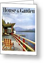 House & Garden Cover Of Women Sitting On The Deck Greeting Card