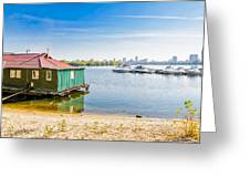 House And Boats On The River Greeting Card