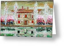 House And River Greeting Card