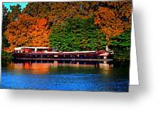 House Boat River Barge In France Greeting Card