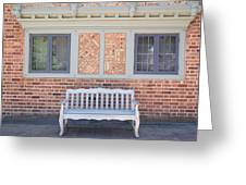 House Brick Exterior With Wood Bench Greeting Card