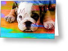 House Broken Bulldog Puppy Greeting Card