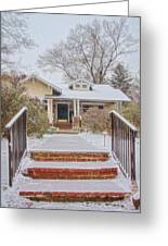 House During Winter Snowfall At Sayen Gardens Greeting Card