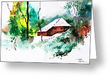 House In Greens 1 Greeting Card
