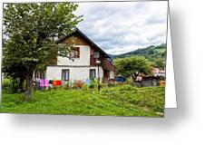 House In The Capathians Village Greeting Card