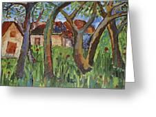 House Near Poppy Field Greeting Card