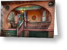 House - Porch - Metuchen Nj - That Yule Tide Spirit Greeting Card by Mike Savad