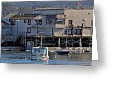 Houseboat In Monterey Harbor Greeting Card by Elery Oxford