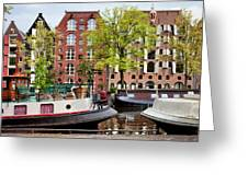 Houseboats And Houses On Brouwersgracht Canal In Amsterdam Greeting Card