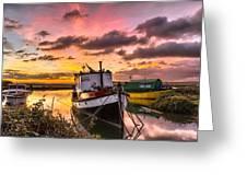Houseboats On Velator Quay Greeting Card