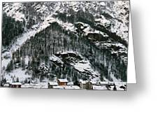 Houses In A Village In Winter, Tasch Greeting Card