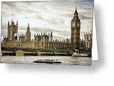 Houses Of Parliament On The Thames Greeting Card