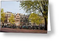 Houses On Singel Canal In Amsterdam Greeting Card