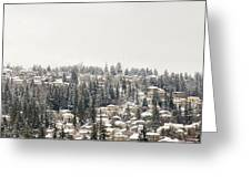 Houses On The Mountain In Winter Greeting Card
