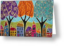 Houses Trees Folk Art Abstract  Greeting Card