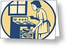 Housewife Baker Baking In Oven Stove Retro Greeting Card