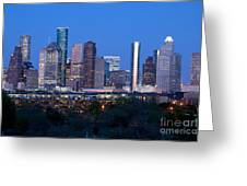 Houston Night Skyline Greeting Card