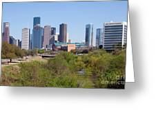 Houston Skyline And Buffalo Bayou Greeting Card