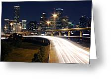 Houston Skyline At Dusk Greeting Card