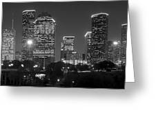 Houston Skyline At Night Black And White Bw Greeting Card