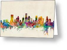 Houston Texas Skyline Greeting Card by Michael Tompsett