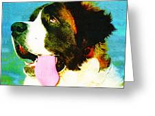 How Bout A Kiss - St Bernard Art By Sharon Cummings Greeting Card by Sharon Cummings