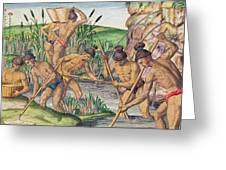 How The Indians Collect Gold From The Streams Greeting Card