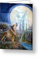 Wolf Howling And Full Moon Greeting Card