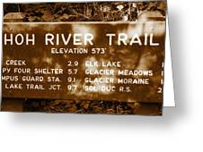 Olympic Hoh River Trail Sign Greeting Card
