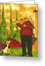 Hubbs Art Folk Prints Whimsical Animal Dogs Pet Music Instrument Fiddler Violin Greeting Card