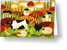 Hubbs Children Art Folk Prints Farm Animals Cow Sheep Goose Chicken Hen Bird Greeting Card