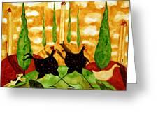 Hubbs Children Art Folk Prints Whimsical Farm Animals Dog Hen Chicken Chase Greeting Card