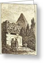Hubert Robert, French 1733-1808, The Sarcophagus Greeting Card