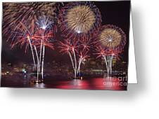 Hudson River Fireworks Viii Greeting Card by Clarence Holmes