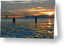 Hudson River Icey Sunset Greeting Card