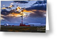 Sunset Over The Oil Rigs Greeting Card