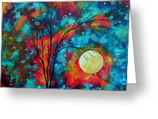 Huge Colorful Abstract Landscape Art Circles Tree Original Painting Delightful By Madart Greeting Card