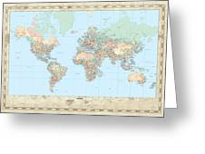 Huge Hi Res Mercator Projection Political World Map   Greeting Card
