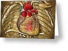 Human Heart Over Vintage Chart Of An Open Chest Cavity Greeting Card