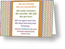 Humans Mistakes Stumble Grow Life Priceless Opportunity Background Designs  And Color Tones N Color  Greeting Card