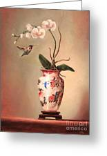 Hummingbird And White Orchid Greeting Card by Lori  McNee