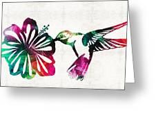 Hummingbird Art - Tropical Chorus - By Sharon Cummings Greeting Card