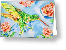 Hummingbird In The Roses Greeting Card